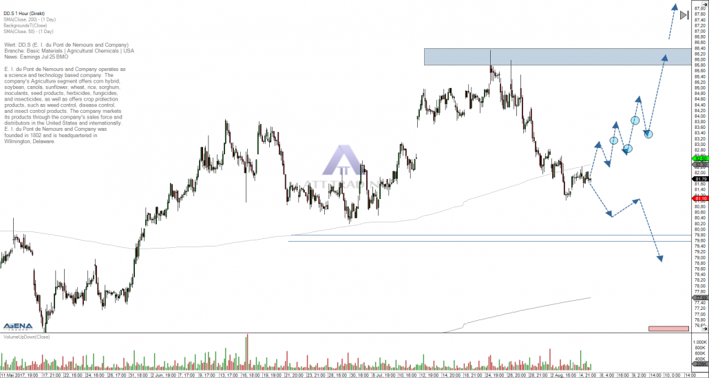 hourly chart DuPont with outlook