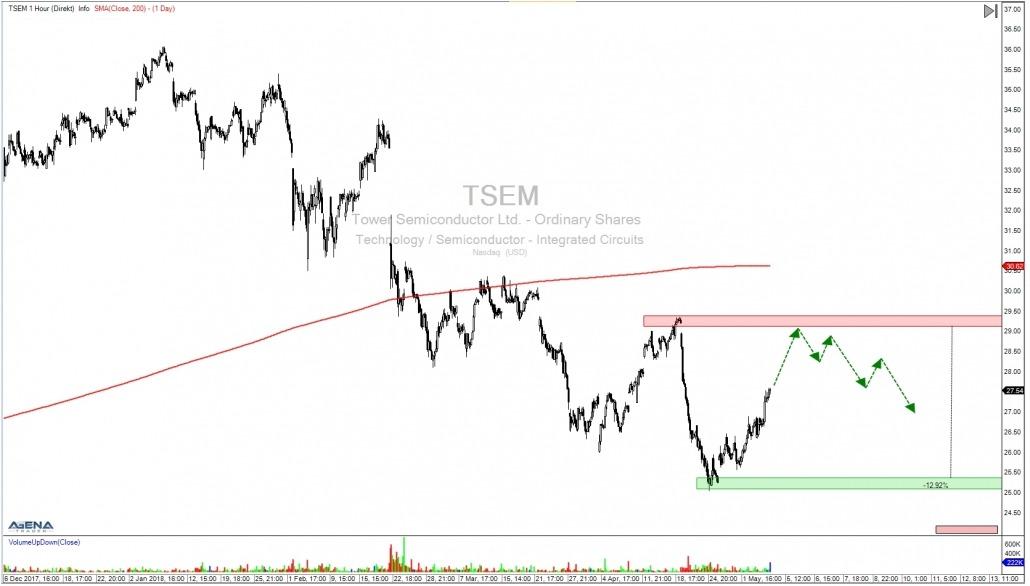 Aktie TSEM Stundenchart mit Ausblick